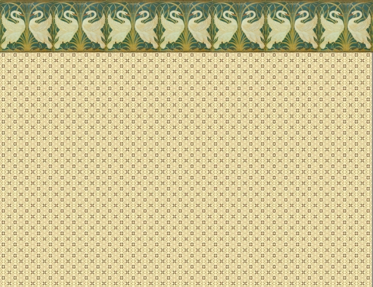 Nursery main wallpaper with swans